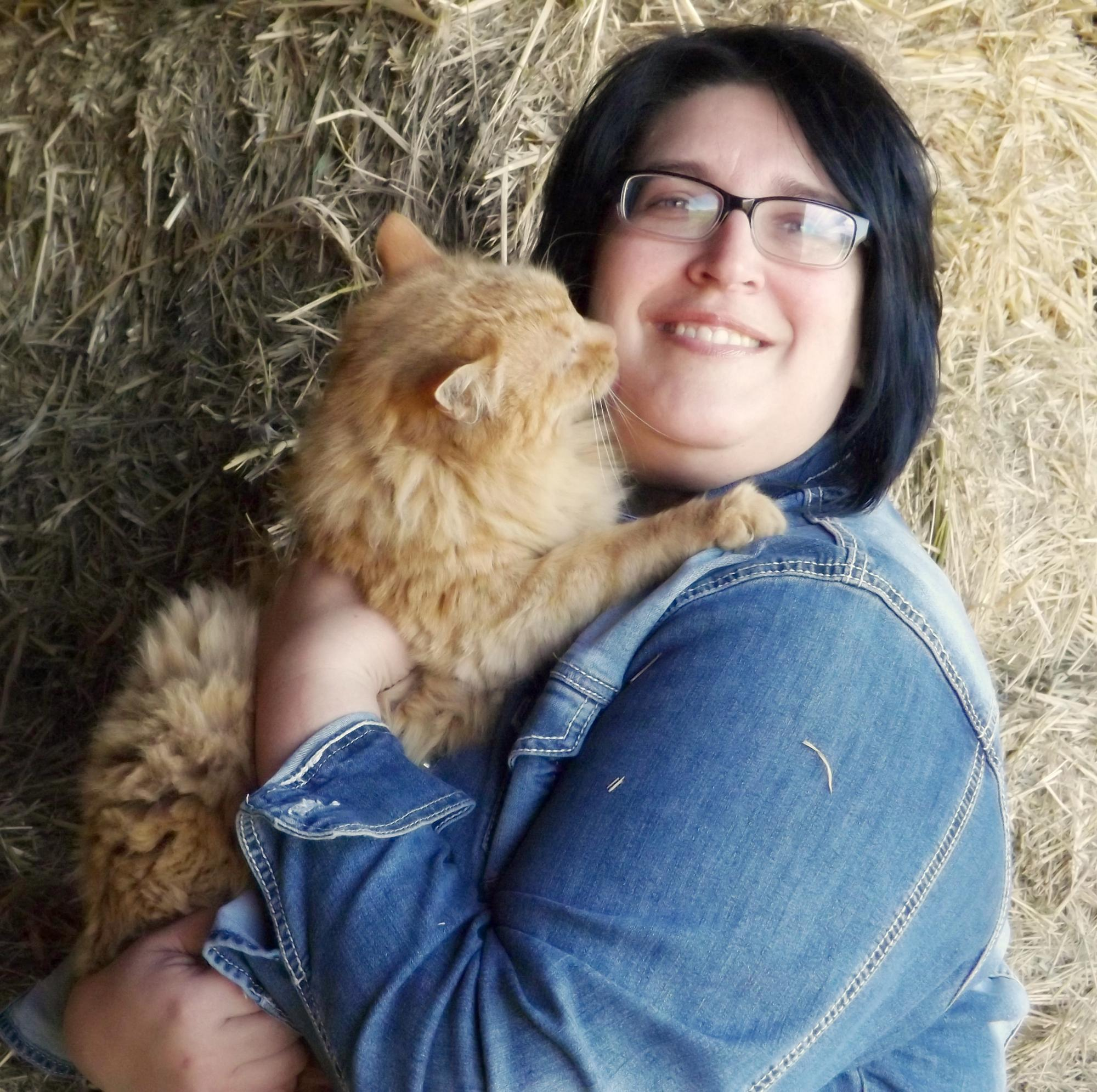 Team member Mary with her cat